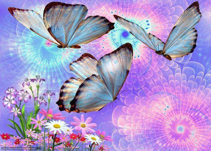 Descargar gratis Mariposas,  Flores,  3d,  arte Fondos de escritorio en la resolucin 2048x1473 — imagen №591289