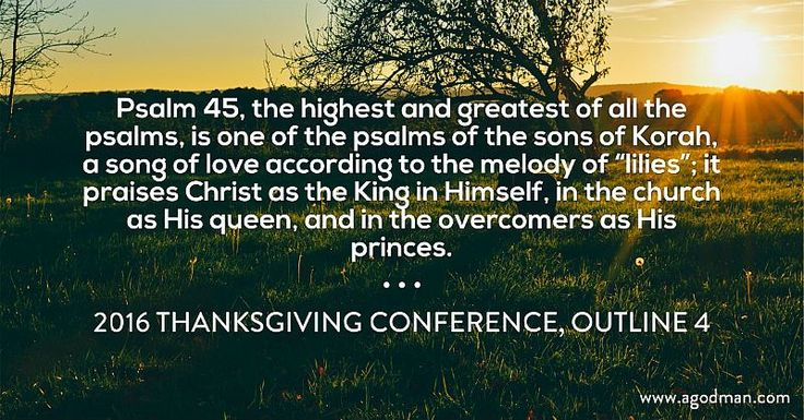 """Psalm 45, the highest and greatest of all the psalms, is one of the psalms of the sons of Korah, a song of love according to the melody of """"lilies""""; it praises Christ as the King in Himself, in the church as His queen, and in the overcomers as His princes. 2016 Thanksgiving Conference, outline 4"""