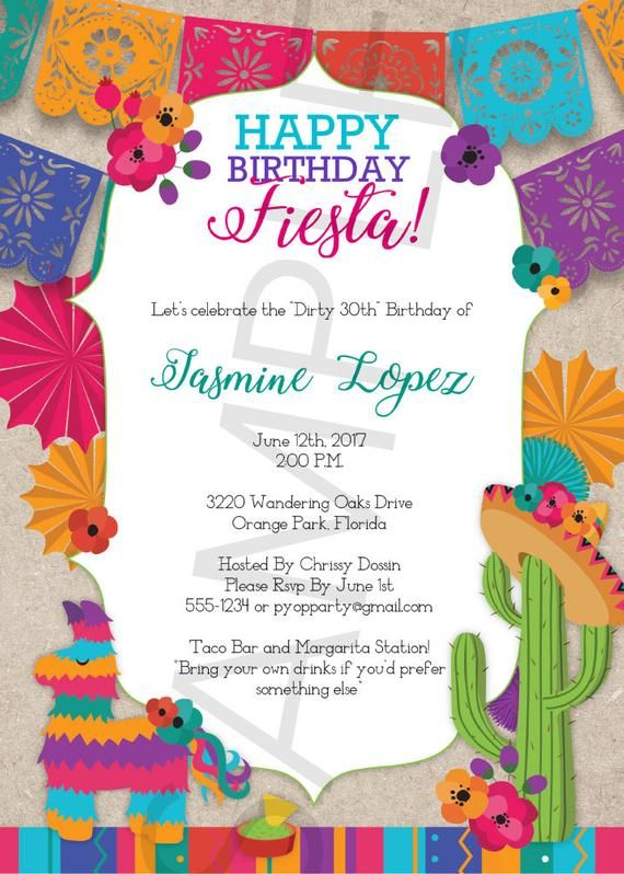 Birthday Fiesta Mexican Style Party Invitation Template Etsy Party Invite Template Fiesta Invitations Mexican Party Invitation