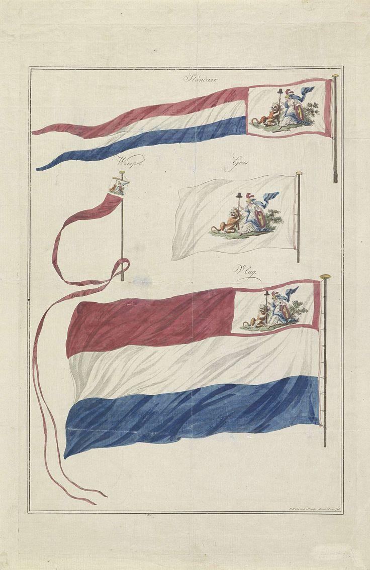 Hendrik Roosing   Vlaggen van de marine van de Bataafse Republiek, 1796, Hendrik Roosing, 1796   Vier varianten van de nieuwe vlag van de Marine van de Bataafse Republiek, ingevoerd 1 maart 1796. De verschillende verschijningsvormen zijn: standaard, wimpel, geus en vlag. De vlag van de marine onderscheidt zich door de toevoeging van een allegorisch embleem waarin de Nederlandse Maagd en de Nederlandse Leeuw samen een speer met de vrijheidshoed vasthouden.