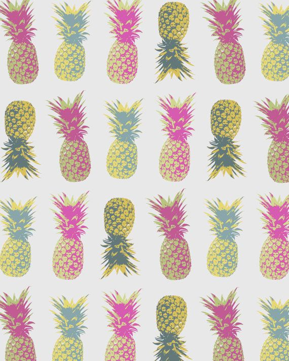Pineapple Print Tropical Poster Fruit kitchen by SailandSwan