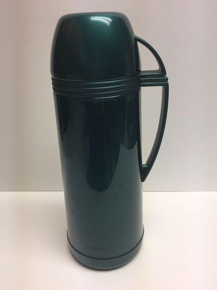 Aladdin Thermos Vacuum Bottle/Thermos Approx 1 Quart or 1.0 Liter Green #Aladdin