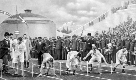 100 meter dash at the 1896 Olympics in Athens