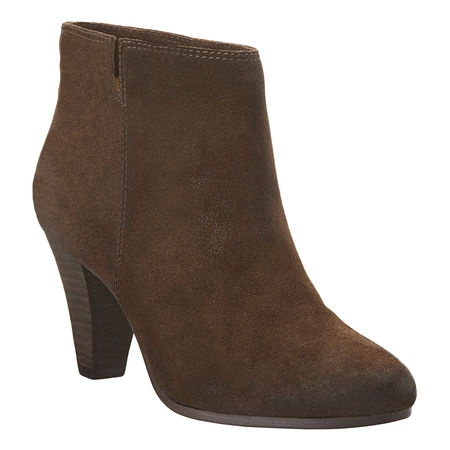 Distressed suede bootie. Varnished almond toe. Stacked leather 3 1/4