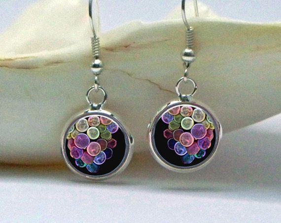 Abstract Grapes Earrings Half Inch Diameter Dangle by phenergiart, $15.00