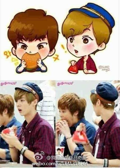 Xiumin Luhan fanart. I don't even know which is cuter the drawing or the original