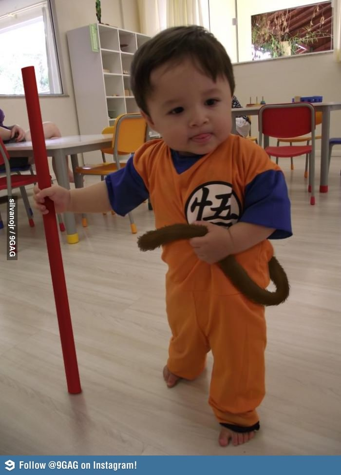 Hi! I'm Goku!- I wonder if a certain friend of ours would let us dress their kid up like this?