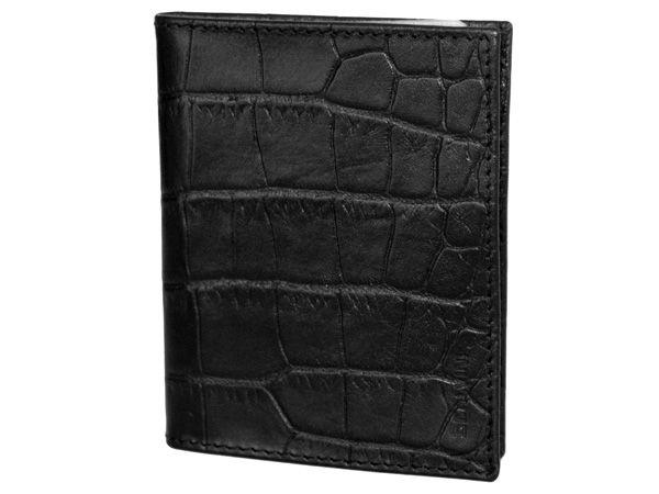 Leather credit card holder in crocodile print black