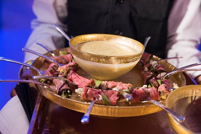 <p> Occasions also passed espresso-crusted smoked beef carpaccio served on individual forks with a spicy herb salad as part of...
