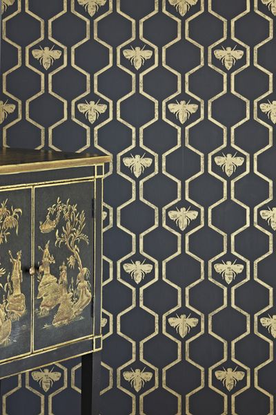 Barneby Gates - Honey Bees - Gold on Charcoal wallpaper