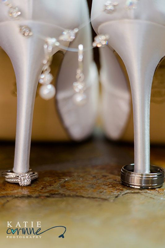 Shoe Shot!  with jewelry and rings.   Wedding Estes Park  Kevin loves Diana Photo By Katie Corinne Photography