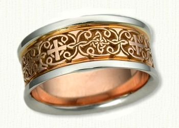 Celtic Mohan Knot Wedding Band- Shown in 14kt Rose Gold Center with 14kt White Gold Rails