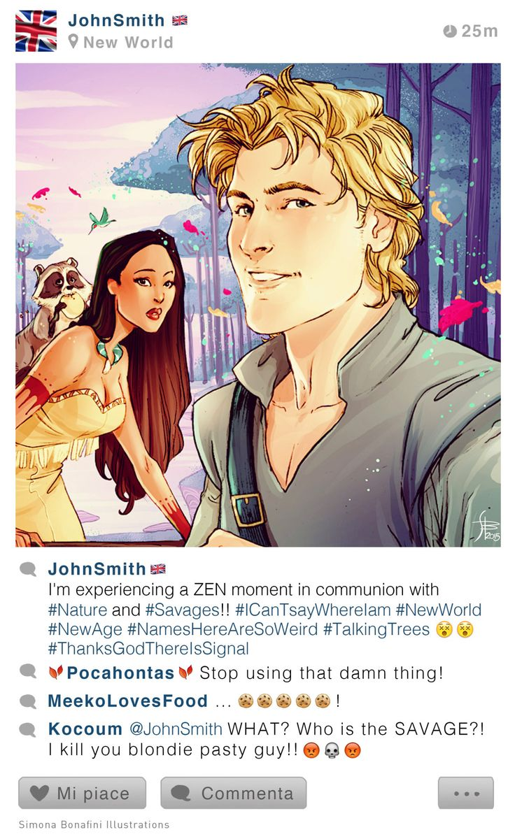 My new #selfiefables! Pocahontas & John Smith Other illustrations on my FB page :)