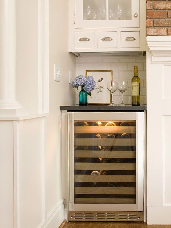 wine fridge area... I do have a similar nook between my kitchen fridge and my dining room, but that seems too cramped of an area for decent entertaining... hmmm...