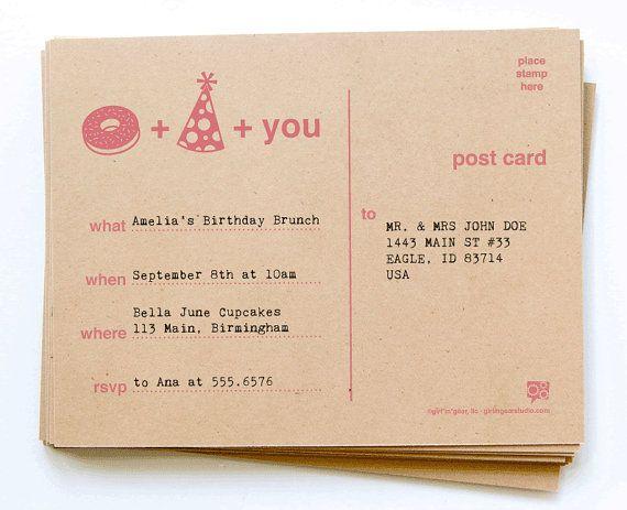 DIY Printable Donut & Party Hat Invitation by GirlinGearStudio