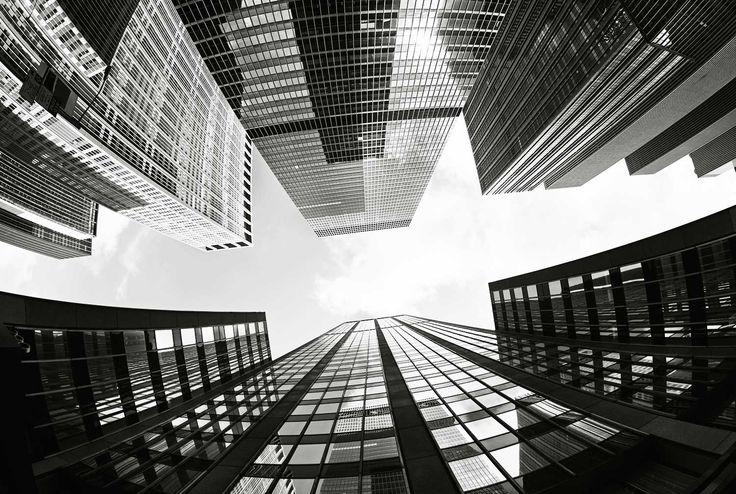 Skyskrapor svartvit tapet   Fototapet   Fondvägg   Happywall 380:- kvm