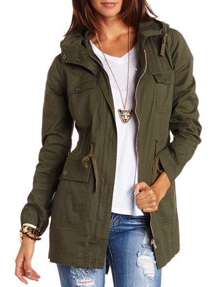 Super cute...maybe have to get this one. Long Hooded Anorak Jacket: Charlotte Russe