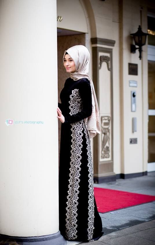 New arrival black and white abaya with hijab (5)
