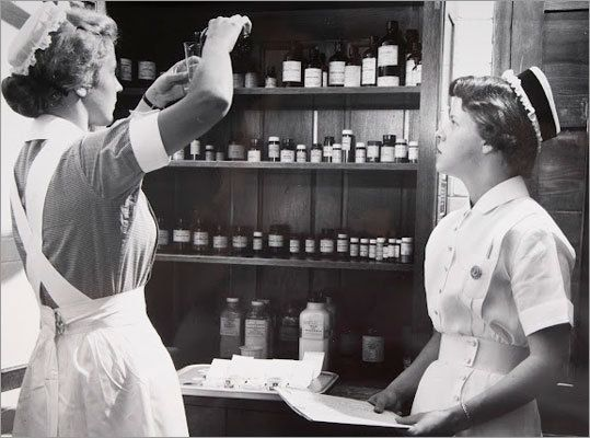 Mass General Nurses in the 1900's .. I remember a time when nurses mixed their own meds instead of waiting an hour for the pharmacist to tube them up!