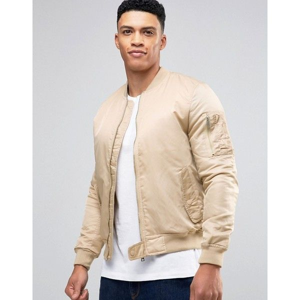 Brave Soul MA1 Bomber Jacket (1,855 DOP) ❤ liked on Polyvore featuring men's fashion, men's clothing, men's outerwear, men's jackets, beige, tall mens jackets, mens nylon bomber jacket, mens nylon jacket, mens zip up jackets and mens beige jacket