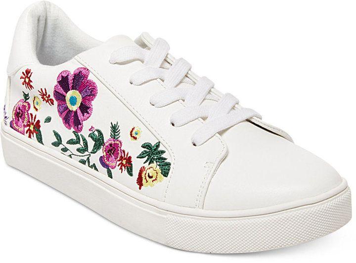 Womens Skateboarding Shoes Canvas Drawing Anemone Flower Sport Sneaker