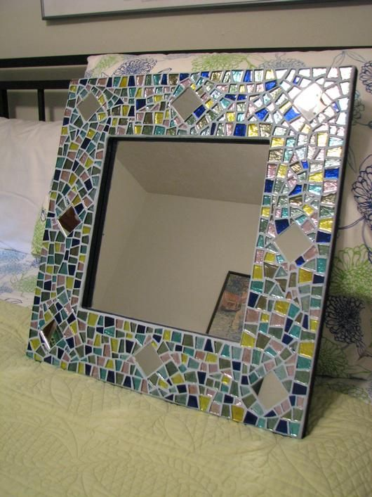 Glass Mosiac Mirror - Tutorial - Might be a neat way to tie together colors in a powder room.