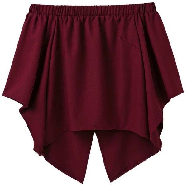 Off The Shoulder Crossover Back Smock Top Burgundy ($25) ❤ liked on Polyvore featuring tops, blouses, cross back top, purple top, smocked blouse, smock top and off the shoulder tops