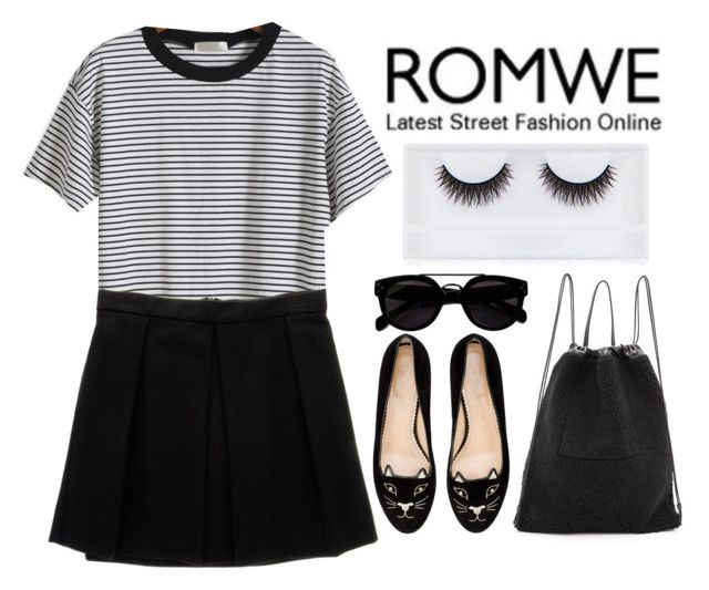 """""""ROMWE"""" by hungry-unicorn ❤ liked on Polyvore featuring Enza Costa, Georgie Beauty, Kara and Charlotte Olympia"""