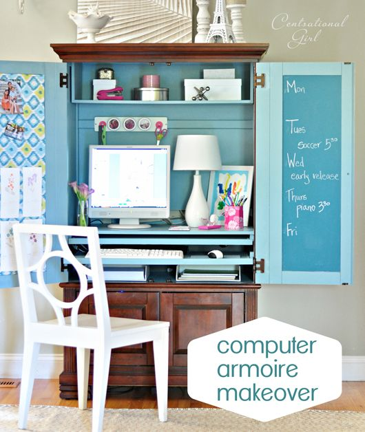 Oh my! I'm going to be scouring thrift stores for the perfect armoire. Love how this keeps everything hidden when not in use and when it is in use it's so bright and cheery! Computer armoire makeover via Censational Girl