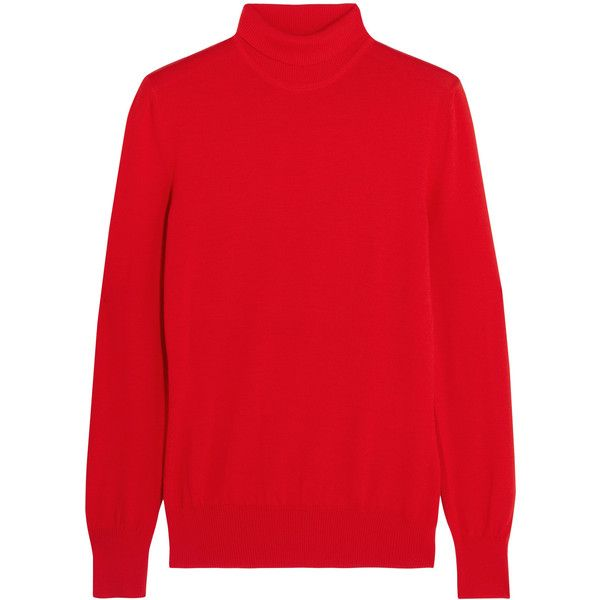 Givenchy Turtleneck sweater in red wool (1 344 AUD) ❤ liked on Polyvore featuring tops, sweaters, red, ribbed turtleneck, polo neck sweater, wool sweaters, ribbed top and turtleneck tops