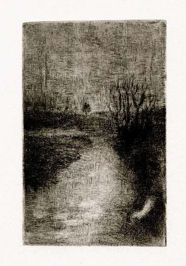 Bohuslav Reynek Polní cesta / Field Road suchá jehla / dry point 14 x 9 cm, otisk z původní desky, 60. léta / 60th yeras