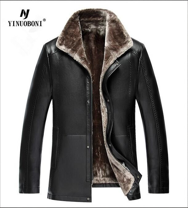 YINUOBONI Men Coats Winter Warm Motorcycle Leather Down Jacket Men's Fashion Luxury Fur Coat Distressed PU Parka Windbreaker