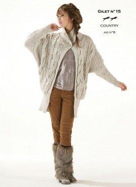 Modèle de tricot - Gilet femme - Catalogue Cheval Blanc n°13 - Laine utilisée : COUNTRY