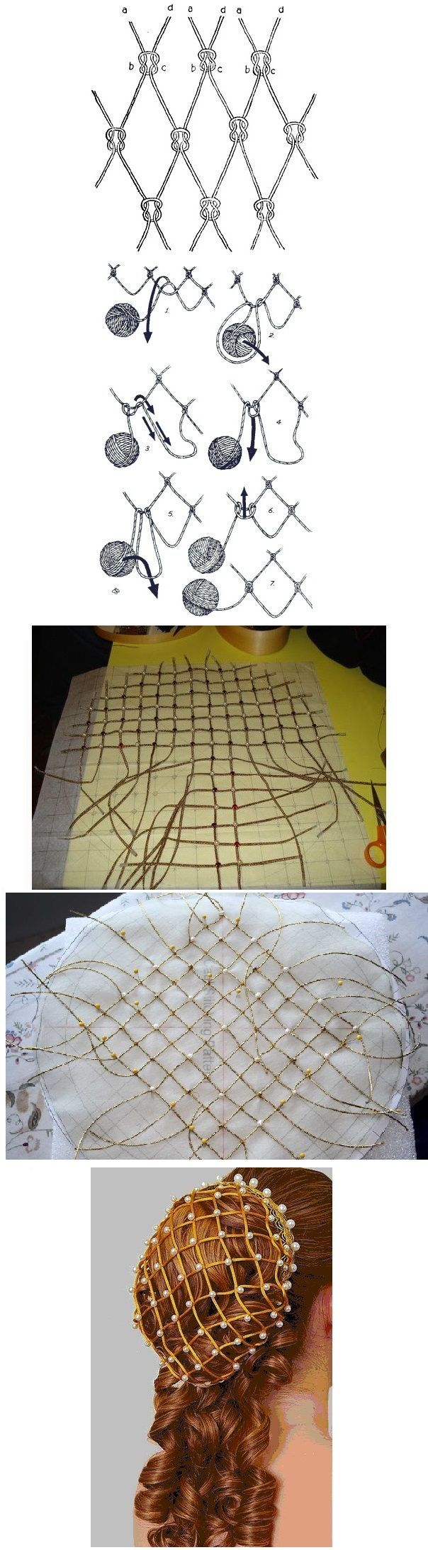 how to make an italian renaissance beaded hairnet (called a snood or caul)