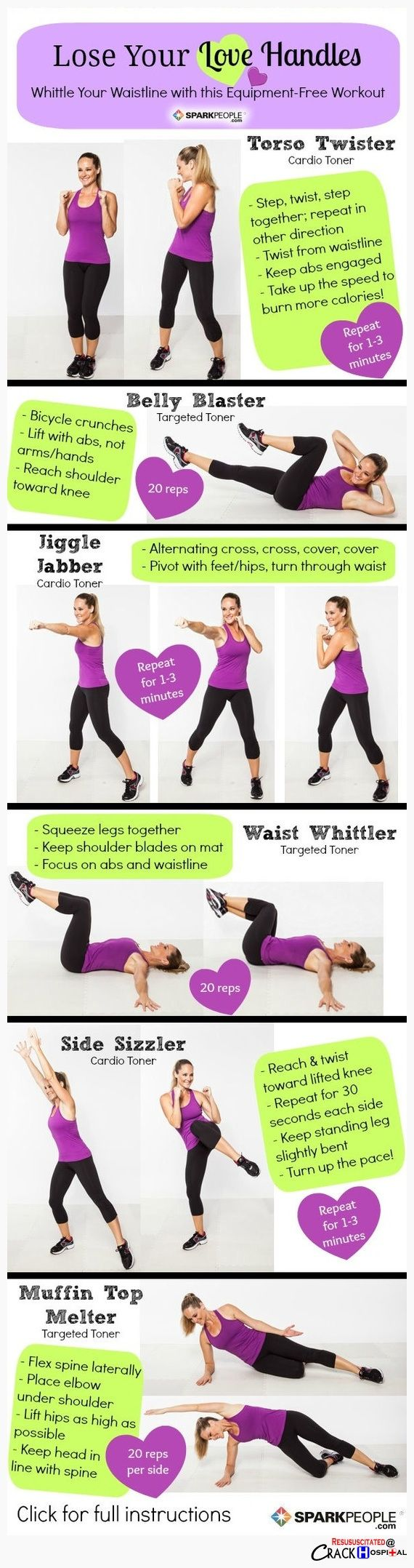 Getting rid of love handles without equipment