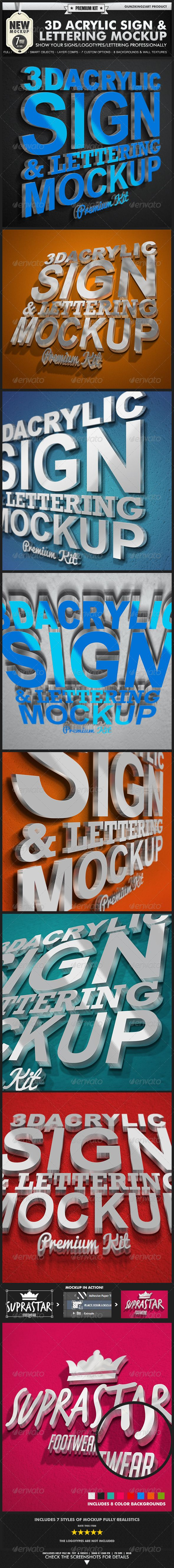 3D Acrylic Sign Mockup - Premium Kit