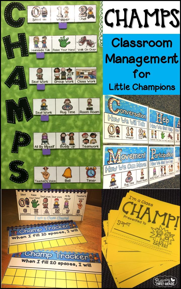 Classroom management with CHAMPS. Concrete expectations in kid friendly language...Every student can be a class CHAMP!!