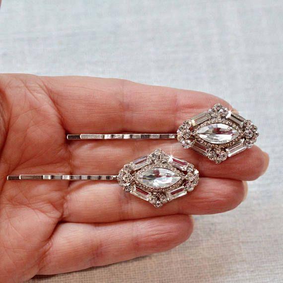 Gorgeous Handmade Art Deco Fancy Cut Crystal Rhinestone Bridal Hair Pins, Bridal, Wedding (Sparkle-2839)