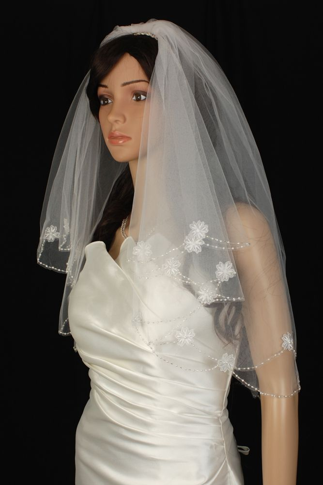Bridal Veil Diamond (Off) White 2 Tiers Elbow Length Edge With Beads And Flowers  $43.49