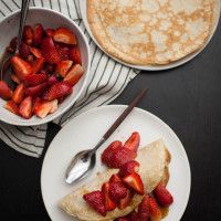 Rye Crepes with Sorghum-Bourbon Strawberries + Ice Cream | Naturally Ella: Desserts Crepes, Sorghum Bourbon Strawberries, Ella Recipes, Strawberries Ice Cream, Strawberry Ice Cream, Naturally It, Breakfast, Sweet Treats, Rye Crepes