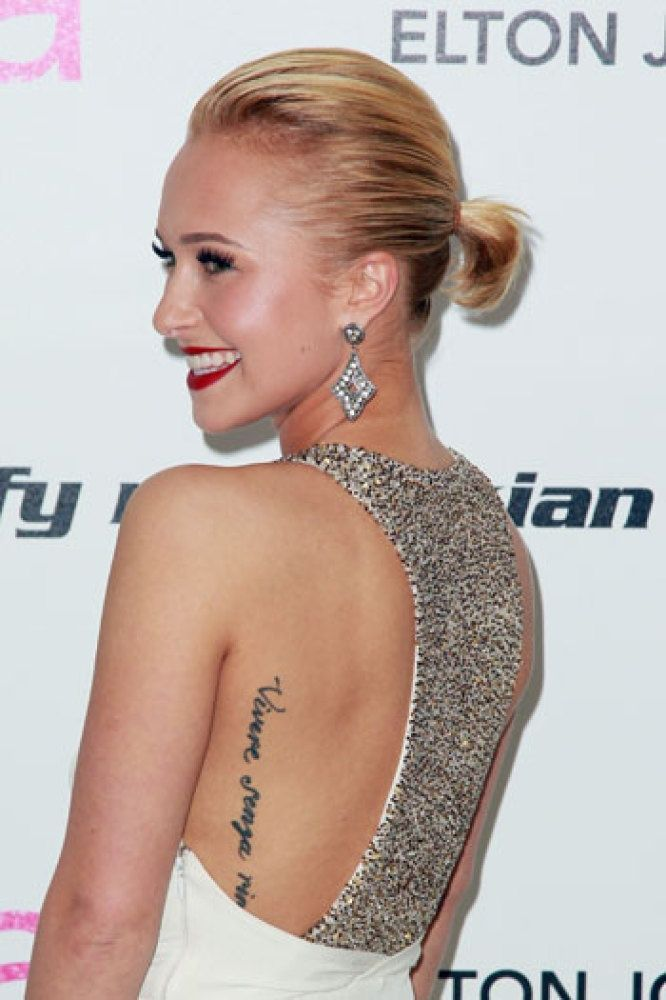 Hayden Panettiere        #tattoos #celebrity my next tattoo will be right here! I've been looking for the perfect side/back tattoo placement for script and this IS IT!