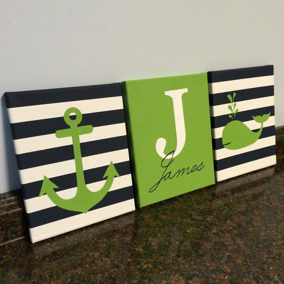 Nautical nursery lime green navy paintings by JessieAnnCreations