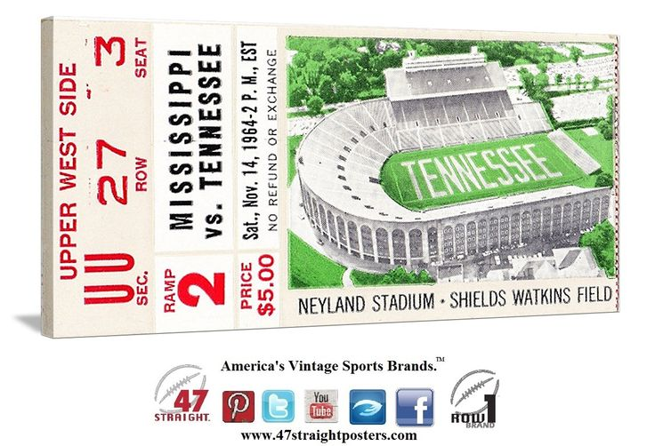 1964 Tennessee Vols football ticket art on canvas. #Tennessee #Vols #SEC #collegefootball #football #sportsart #47straight #row1brand Come follow us on Twitter! https://twitter.com/47_Straight