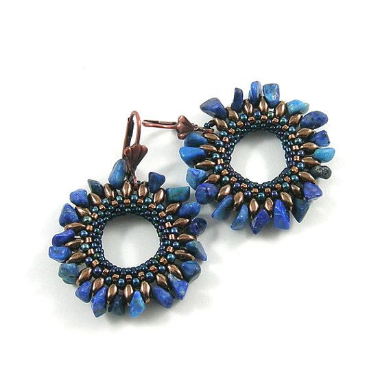 circle earrings - blue