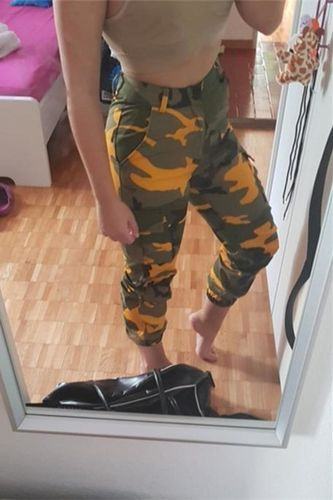 fe5d9d1cc8461 yellow camouflage joggers high waist cargo pants outfit baggy cool pants  women. Fit any body type, Free Exchange and Easy Return, Plus Extra 15% off.