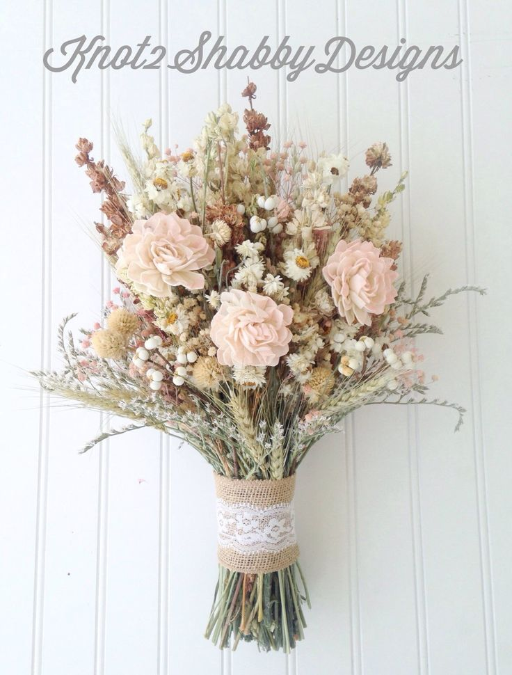 Sola flower wildflower dried flower bouquet by Knot2ShabbyDesigns