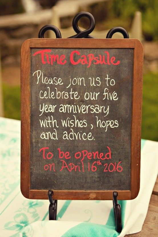 This is such a neat idea, have guest write little notes and then open it on your 5th anniversary!: Time Capsule, Wedding Time, Cute Ideas, Anniversaries, 10 Years, Cool Ideas, Guestbook, Wedding Guest Books, 5 Years