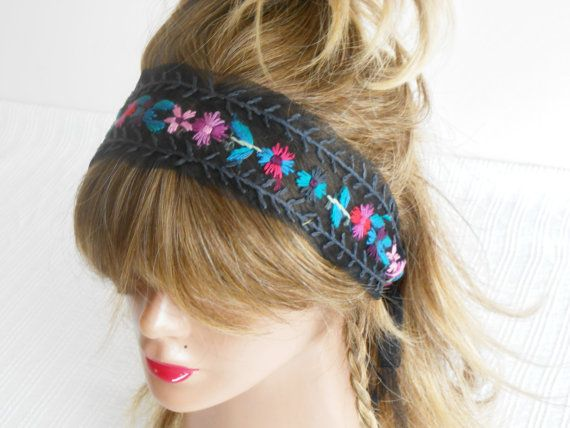 Handmade head band, Hippie hair band, Boho headband, Embroidered headband, Hand embroidered headband, Unique product, black tulle headband