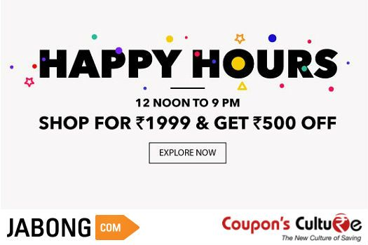 ‪#‎Jabong‬ ‪#‎HappyHours‬ Shop for Rs. 1999 and get Flat Rs. 500 Off. ‪Shop‬ Now