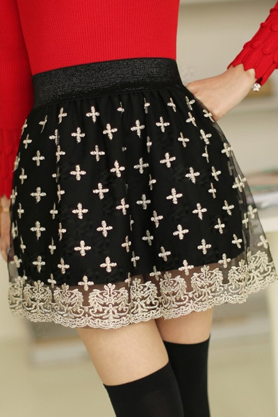 Elastic Waist Lace Embroidered Cross Short Skirt #fashion #short skirt #lace #cross